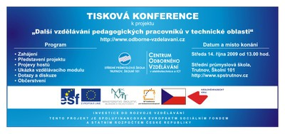 Pozvánka na tiskovou konferenci k projektu DVPP v technické oblasti